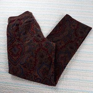 Ralph Lauren 10 Brown Black Wine Velvet Pants